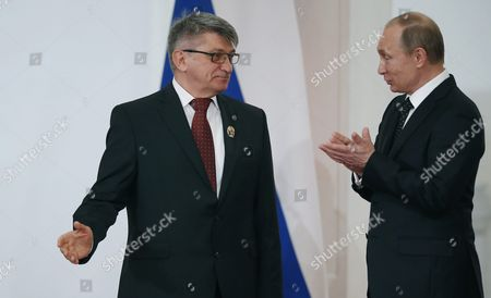 Russian President Vladimir Putin (r)speaks with Russian Film Director Alexander Sokurov (l) For His Contribution to the Development of National and World Cinema During the State Prize Awards Ceremony at the Grand Kremlin Palace in Moscow Russia 12 June 2015 Seven People Were Awarded For Their Significant Contribution to the Scientific Cultural and Humanitarian Fields Russian Federation Moscow