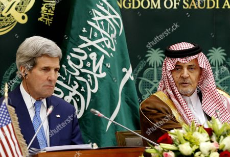 Us Secretary of State John Kerry (l) and Saudi Arabia Foreign Minister Prince Saud Al-faisal (l) Give a Press Conference in Riyadh Saudi Arabia 05 March 2015 Media Reports State Kerry is Visiting Saudi Arabia to Reassure Jittery Arab Gulf Nations Arguing That Washington is Still Keen to Contain Iran's Regional Influence and Prevent It From Acquiring Nuclear Weapons According to Kerry a Safer Gulf Region 'Begins by Preventing [iran] From Having a Nuclear Weapon ' in Addition the Us Will not Turn a Blind Eye to Iran's 'Destabilizing' Influence in Countries Like Syria Iraq and Yemen He Said Saudi Arabia Riyadh