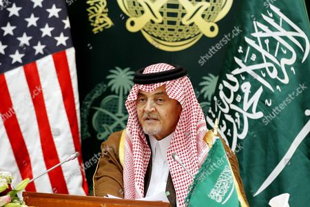 Saudi Foreign Minister Prince Saud Al-faisal Speaks During a Press Conference with Us Secretary of State John Kerry (not Pictured) in Riyadh Saudi Arabia 05 March 2015 Media Reports State Kerry is Visiting Saudi Arabia to Reassure Jittery Arab Gulf Nations Arguing That Washington is Still Keen to Contain Iran's Regional Influence and Prevent It From Acquiring Nuclear Weapons According to Kerry a Safer Gulf Region 'Begins by Preventing [iran] From Having a Nuclear Weapon ' in Addition the Us Will not Turn a Blind Eye to Iran's 'Destabilizing' Influence in Countries Like Syria Iraq and Yemen He Said Saudi Arabia Riyadh