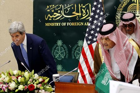 Stock Photo of Us Secretary of State John Kerry (l) and Saudi Arabia Foreign Minister Prince Saud Al-faisal (l) Arrive For a Press Conference in Riyadh Saudi Arabia 05 March 2015 Media Reports State Kerry is Visiting Saudi Arabia to Reassure Jittery Arab Gulf Nations Arguing That Washington is Still Keen to Contain Iran's Regional Influence and Prevent It From Acquiring Nuclear Weapons According to Kerry a Safer Gulf Region 'Begins by Preventing [iran] From Having a Nuclear Weapon ' in Addition the Us Will not Turn a Blind Eye to Iran's 'Destabilizing' Influence in Countries Like Syria Iraq and Yemen He Said Saudi Arabia Riyadh