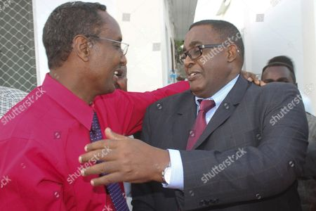 Omar Abdirashid Ali Sharmarke (r) Somalia's Ambassador to the United States is Congratulated by His Colleague During a Nomination Ceremony in Mogadishu Somalia 17 December 2014 Somalia's President Hassan Sheikh Mohamud on 17 December Nominated Sharmarke As the Country's New Prime Minister After the Former Premier Abdiweli Sheikh Ahmed was Voted out by the Parliament on 06 December 2014 the Nomination Must Next Be Approved by the Parliament Somalia Mogadishu