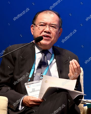 Supachai Panitchpakdi Former Director-general of Wto and Former Secretary-general of Unctad Speaks About 'Cooperation in Trade and Development in the Era of Eurasia' Speaks During a Session of the 2013 International Conference of Global Cooperation in the Era of Eurasia in Seoul South Korea 18 October 2013 Korea, Republic of Seoul
