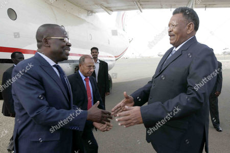 Sudanese Vice President Bakri Hassan Saleh (r) Welcomes Central African Republic (car) Prime Minister Nicolas Tiangaye (l) at Khartoum Airport Khartoum Sudan 11 June 2014 Tiangaye Arrived in Khartoum on a Two-day Official Visit Car Has Been in Turmoil Since the Seleka Rebel Group Overthrew President Francois Bozize a Christian in March 2013 Thousands of People Are Reported to Have Been Killed in Fighting and About a Million Displaced Sudan Khartoum