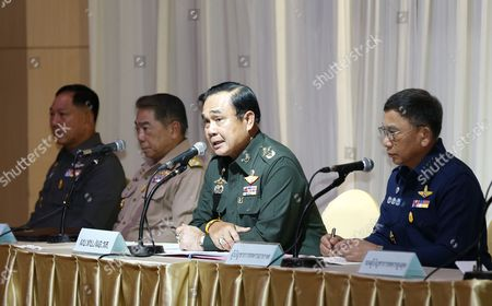 (l-r) Thai Police Chief Adul Saengsingkaew Navy Chief Adm Narong Pipattanasai Army Chief General Prayut Chan-o-cha and Air Chief Marshall Prachin Chantong During a Meeting at the Army Club in Bangkok Thailand 20 May 2014 Thai Army Chief Prayut Chan-o-cha Early on 20 May 2014 Declared Martial Law Giving the Military Full Control to Prevent Further Protest-related Violence in the Country the Statement was Issued About 3 Am on 20 May (2000 Gmt) According to Local Media Reports Prayuth Has the Authority to Declare Martial Law Without the Consent of the Government Which Has Had Caretaker Status Since 09 December 2013 Thailand Has Been Wracked by Six Months of Non-stop Protests Seeking to Topple the Government at Least 25 People Have Died in Political-related Violence and More Than 700 Injured Thailand Bangkok