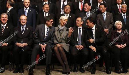 United States Secretary of the Treasury Jack Lew (3-l) Managing Director of the International Monetary Fund (imf) Christine Lagarde (c) Turkey's Central Bank Governor Erdem Basci (3-r) and Deputy Prime Minister of Turkey Ali Babacan (2-r) Talk As They Prepare to Pose For a Family Photo During the G20 Meeting of Finance Ministers and Central Bank Governors at the Finance Ministry in Istanbul Turkey 10 February 2015 Turkey Istanbul