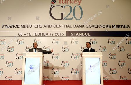 Jose Angel Gurria (l) Secretary-general of Organisation For Economic Co-operation and Development (oecd) and Deputy Prime Minister of Turkey Ali Babacan (r) During the Press Conference to G20 Summit Finance Ministers and Central Bank Governors Meeting in Istanbul Turkey 09 February 2015 the G20 Summit Will Be Held in Istanbul on 08 and 10 February Turkey Istanbul