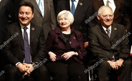 Deputy Prime Minister of Turkey Ali Babacan (l) Us Federal Reserve Board Chairwoman Janet Yellen (c) and German Federal Minister of Finance Wolfgang Schauble As They Prepare to Pose For a Family Photo During the G20 Meeting of Finance Ministers and Central Bank Governors at the Finance Ministry in Istanbul Turkey 10 February 2015 Turkey Istanbul