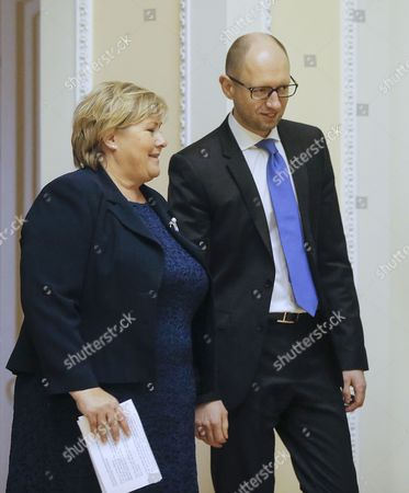 Ukrainian Prime Minister Arseny Yatseniuk (r) and His Norwegian Counterpart Erna Solberg (l) Speak During Their Meeting in Kiev Ukraine 18 November 2014 Erna Solberg Arrived in Ukraine to Discuss Bilateral Relations Energy Security Relations with Russia the Situation in Ukraine and Economic Contacts Ukraine Kiev