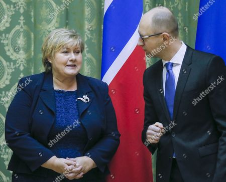 Ukrainian Prime Minister Arseny Yatseniuk (r) Speaks with His Norwegian Counterpart Erna Solberg (l) During Their Meeting in Kiev Ukraine 18 November 2014 Erna Solberg Arrived in Ukraine For Discussing Bilateral Relations Energy Security Relations with Russia the Situation in Ukraine and Economic Contacts Ukraine Kiev