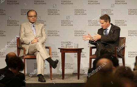 Stock Image of Arun Jaitley (l) Finance Minister Republic of India is Interviewed by Timothy Geithner (r) President Warburg Pincus and Former Secretary of Us Department of the Treasury at the Council on Foreign Relations in New York New York Usa 18 June 2015 United States New York