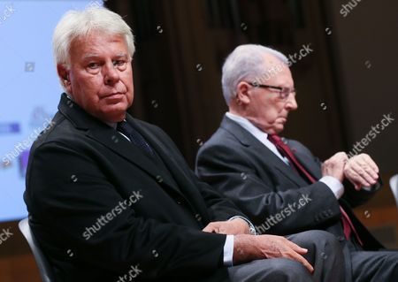 Spanish Former Prime Minister Felipe Gonzalez (l) and Jacques Delors the French Former President of the European Commission Fattend a Debate Reinventing Europe in Brussels 10 October 2013 Reinventing Europe is 3 Days Debatye Organize by Major European Media Belgium Brussels