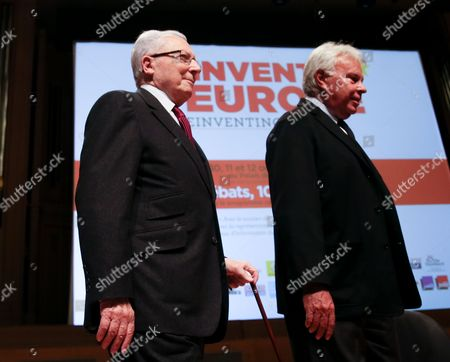 Stock Image of Spanish Former Prime Minister Felipe Gonzalez (r) and Jacques Delors the French Former President of the European Commission Attend a Debate Reinventing Europe in Brussels 10 October 2013 Reinventing Europe is 3 Days Debatye Organize by Major European Media Belgium Brussels