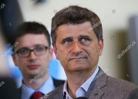 Polish Opposition Leader Janusz Palikot (r) is Talking with Journalists As He Arrives For a Visit at the European Commission Headquarters in Brussels Belgium 14 May 2013 Belgium Brussels