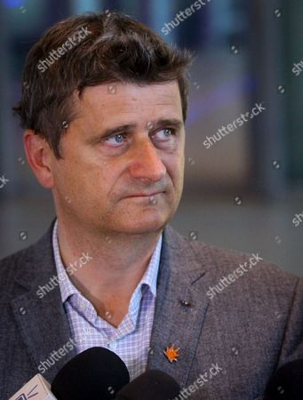 Polish Opposition Leader Janusz Palikot is Talking with Journalists As He Arrives For a Visit at the European Commission Headquarters in Brussels Belgium 14 May 2013 Belgium Brussels