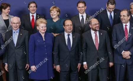 (front Row L-r) European Council President Herman Van Rompuy Lithuanian President Dalia Grybauskaite French President Francois Hollande European Parliament President Martin Schulz Greek Prime Minister Antonis Samaras and (second Row L-r) Slovenian Prime Minister Alenka Bratusek Portuguese Prime Minister Pedro Passos Coelho German Chancellor Angela Merkel Finnish Prime Minister Jyrki Katainen Romanian Prime Minister Victor Viorel Ponta Pose For a Group Photo During a European Heads of State Summit in Brussels Belgium 22 May 2013 the European Council Will in the Context of the Eu's Efforts to Promote Growth Jobs and Competitiveness Discuss Energy and Taxation Policy Belgium Brussels