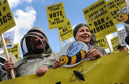 Fashion Designer Dame Vivienne Westwood (r) Protests with Beekeepers Outside Parliament During a Demonstration in London Britain 26 April 2013 Over 100 Beekeepers Together with Designers Dame Vivienne Westwood and Katharine Hamnett Protested Urging Secretary of State For Environment Owen Paterson to not Block the Eu Proposal to Suspend the Use of Bee Killing Pesticides the Demonstration Came Ahead of a Vote in Brussels Which Will Decide Whether Europe Agrees to Introduce a 2 Year Moratorium on the Use of Certain Types of Nenicotinoid Pesticides United Kingdom London