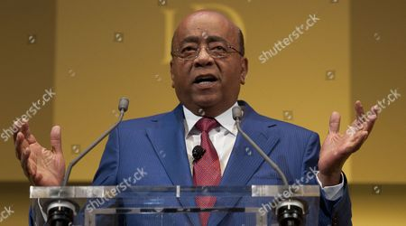 Mo Ibrahim Founder of Celtel and Satya Capital Delivers a Speech at the Institute of Directors Convention at the Royal Albert Hall Central London Britain 03 October 2014 the Annual Convention Brings Together Business Leaders and Politicians to Discuss the Business Strategy and the World Economy United Kingdom London