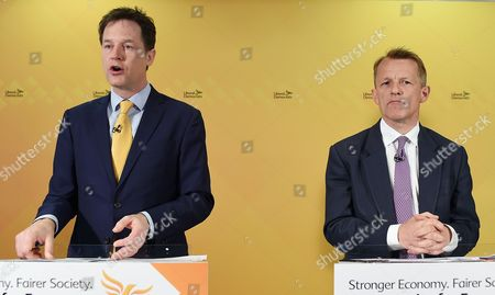 Liberal Democratic Party Leader Nick Clegg (l) and David Laws (r) Minister of State For Schools in the Department For Education Launch Their Party's Manifesto in London Britain 12 April 2015 Britain Heads to the Polls in the General Election Slated For 07 May 2015 United Kingdom London