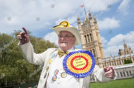 Bringing a Touch of Lightheartedness to the Seriousness of Election Campaigning Howling Laud Hope Leader of the Official Monster Raving Loony Party Makes His Pitch to the Public Near the Houses of Parliament in London 01 May 2015 Five More Days of Campaigning Remain Before the British Population Go to the Polls on May 7th to Elect a New Government United Kingdom London