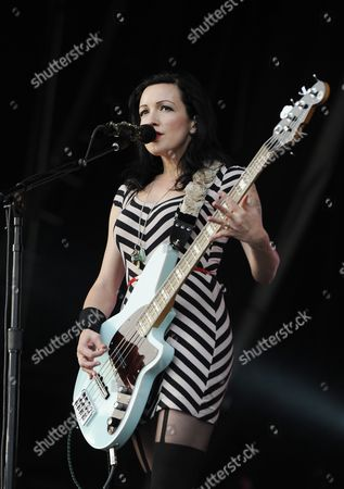 Bass Player Nicole Fiorentino Performs During a Concert by Us Band the Smashing Pumpkins at Glastonbury Festival of Contemporary Performing Arts 2013 Held at Worthy Farm Near Pilton Somerset Britain 30 June 2013 the Outdoor Festival Runs From 26 to 30 June United Kingdom Pilton