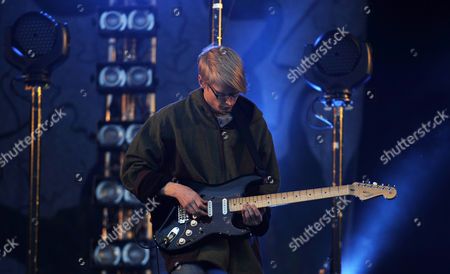 Stock Picture of Member of British Band Alt-j Gwil Sainsbury Performs During a Concert at Glastonbury Festival of Contemporary Performing Arts 2013 Held at Worthy Farm Near Pilton Somerset Britain 28 June 2013 the Outdoor Festival Runs From 26 to 30 June United Kingdom Pilton
