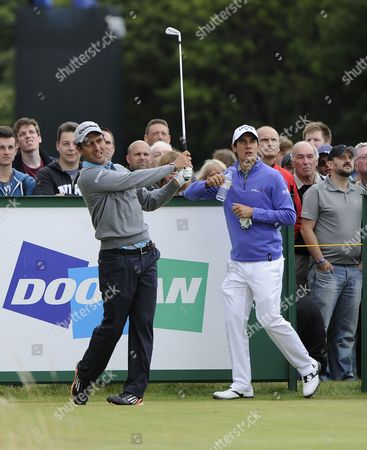 Stock Picture of Italy's Eduardo Molinari (l) Tees Off on the Third Day of Official Practice at the British Open Golf Championship at Hoylake Near Liverpool Britain 16 July 2014 the Open Starts on the 17 July with the Fourth and Final Round on the 20 July United Kingdom Hoylake