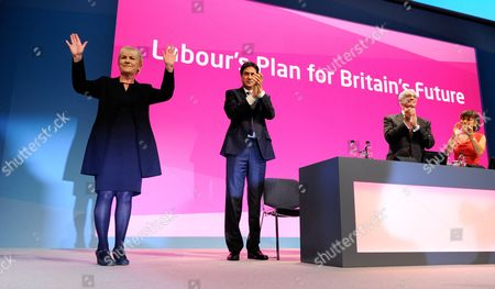 British Opposition Labour Party Leader Ed Miliband (c) is Flanked by Leader of the Scottish Labour Party Johann Lamont (left) and Alistair Darling Former Chancellor of the Exchequer in the Last Labour Government As They Thank Delegates For Their Response at the Labour Party's Annual Conference in Manchester North West England 22 September 2014 United Kingdom Manchester