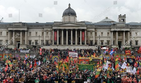 Thousands of People Gather For the Annual Trade Union May Day Event in Trafalgar Square in London Britain 01 May 2014 the Event Honoured the Lives of Rail Union Leader Bob Crow and Veteran Politician Tony Benn Labour Day Also Known As International Workers' Day Or May Day is Observed Worldwide on 01 May United Kingdom London