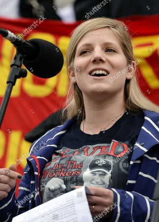 The Daughter of Bob Crow Natasha Speaks at the Annual Trade Union May Day Event in Trafalgar Square in London Britain 01 May 2014 the Event Honoured the Lives of Rail Union Leader Bob Crow and Veteran Politician Tony Benn Labour Day Also Known As International Workers' Day Or May Day is Observed Worldwide on 01 May United Kingdom London