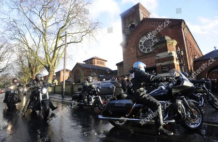 Hells Angels Well-wishers Attend the Funeral of Train Robber Ronnie Biggs at Golders Green Crematorium in North London Britain 03 January 2014 Ronnie Biggs a British Petty Criminal who Became Infamous For His Role in the Great Train Robbery of 1963 and His Subsequent Life on the Run Had Died Aged 84 at a Care Home in London on 18 December 2013 Biggs was Part of a Gang That Held Up a Royal Mail Train Making Off with 2 6 Million Pounds Biggs Received a 30-year Jail Sentence in 1964 But Escaped After Havng Served Just 15 Months He Then Used His Share of the Money to Undergo Elaborate Plastic Surgery in Paris Before Travelling on to Australia It was the Beginning of 35 Years on the Run Most of Which Were Spent in Rio De Janeiro Epa/facundo Arrizabalaga United Kingdom London
