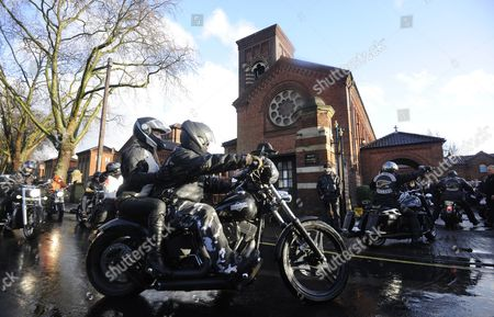 Members of Notorious Motorcycle Club Hell Angels Arrive on Motorbikes at the Funeral of the Great Train Robber Ronnie Biggs Golders Green Crematorium in London Britain 03 January 2014 Britain's Great Train Robber Ronnie Biggs Has Died Aged 84 at a Care Home in London on 18 December Biggs Won Notoriety For His Role in Holding Up a Royal Mail Train in 1963 Before Eventually Fleeing to Rio De Janeiro and Spending 35 Years on the Run United Kingdom London