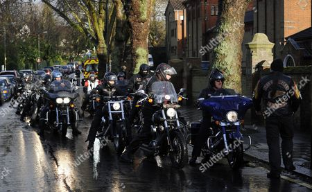 Members of the Hell 'S Angels Arrive on Motorbikes at the Funeral of the Great Train Robber Ronnie Biggs Outside the Golders Green Crematorium in North London 03 January 2014 Biggs Died Aged 84 at a Care Home in London on 18 December and Won Notoriety For His Role in Holding Up a Royal Mail Train in 1963 Before Eventually Fleeing to Rio De Janeiro and Spending 35 Years on the Run United Kingdom London