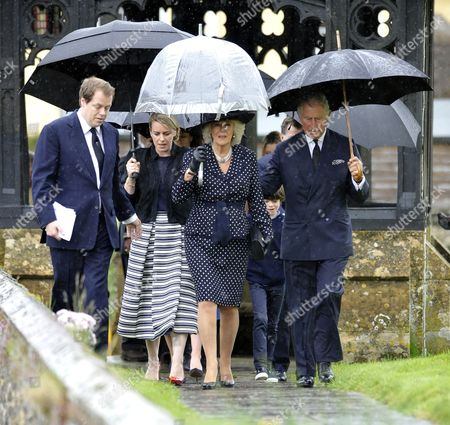 Stock Picture of Britain's Prince Charles (r) His Wife Camilla Duchess of Cornwall (2-r) and Her Daughter Laura Lopes (2-l) and Son Tom Parker Bowles (l) Arrive at the Funeral Service of the Duchess's Brother Mark Shand Held at the Holy Trinity Church in Stourpaine Dorset Britain 01 May 2014 the British Travel Writer and Conservationist Died After Suffering a Head Injury During a Fall at an After-party at the Rose Bar For a Charity Event in New York Usa on 23 April 2014 He was 62 United Kingdom Stourpaine