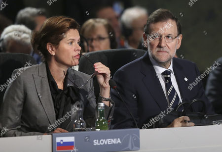 Slovenian Prime Minister Alenka Bratusek (l) and Spanish Prime Minister Mariano Rajoy (r) Attend a North Atlantic Council Meeting During the Nato Summit 2014 at the Celtic Manor Resort in Newport Wales Britain 05 September 2014 World Leaders From About 60 Countries Are Coming Together For a Two-day Nato Summit Taking Place From 04-05 September United Kingdom Newport