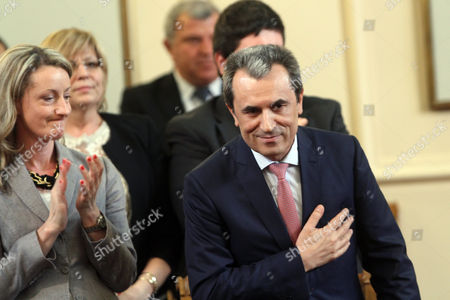 Stock Photo of Bulgarian Prime Minister Plamen Oresharski (r) Reacts in the Parliament in Sofia Bulgaria 24 July 2014 the Bulgarian Parliament Accepted the Resignation of Bulgarian Premier Plamen Oresharski's Cabinet Oresharski and Ministers of His Government Had Submitted Their Resignation Following the European Parliament Elections where Socialist Party Performed Poorly Bulgaria Sofia