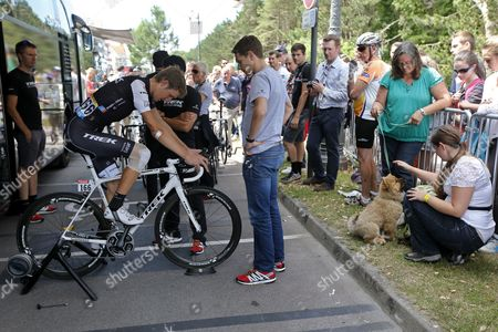 Trek Factory Racing Procycling Team Rider Andy Schleck (l) of Luxembourg Warms Up Prior to the 4th Stage of the 101st Edition of the Tour De France 2014 Cycling Race Between Le Touquet-paris-plage and Lille Metropole in France 08 July 2014 France Le Touquet
