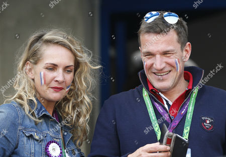 French Tv Personality Benjamin Castaldi (r) and His Wife Vanessa (l) Attend the Jumping Final Four Competition at the World Equestrian Games 2014 in Caen France 07 September 2014 France Caen