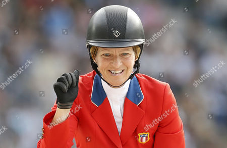 Us Rider Beezie Madden on Horse Cortes 'C' Reacts After Competing in the Second Round Jumping Event During the World Equestrian Games 2014 in Caen France 06 September 2014 France Caen