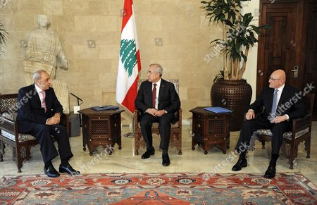 Lebanese President Michel Sleiman (c) Meets with Parliament Speaker Nabih Berri (l) and Prime Minister-designate Tammam Salam (r) at the Presidential Palace in Baabda East Beirut Lebanon 15 February 2014 Ahead of Announcing the Formation of the New Lebanese Government Salam Ended a 10-month Vacuum on 15 February by Forming a National Unity Cabinet That Includes All Rival Groups Which Have Been Mainly Divided Over the Conflict in Neighbouring Syria Lebanon Baabda