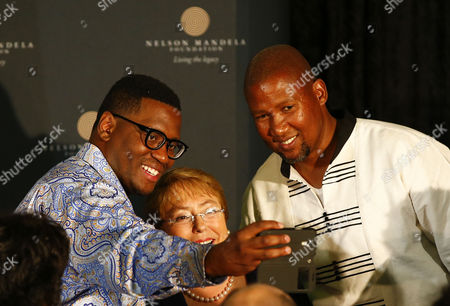 Shaka Sisulu Grandson of Anti-apartheid Activist Walter Sisulu (l) Takes a Selfie with President of Chile Michelle Bachelet (c) and Mandla Mandela Grandson of Nelson Mandela (r) After Bachelet Gave the 12th Annual Nelson Mandela Lecture at the City Hall in Cape Town South Africa 09 August 2014 President Bachelet is the 12th Speaker at the Prestigeous Annual Nelson Mandela Lecture Series Hosted by the City of Cape Town and the Nelson Mandela Foundation South Africa Cape Town