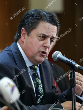 Nick Griffin Former Mep Expelled Member of the British National Party (bnp) Speaks During a Press Conference As a Member of a Delegation From the the Radical Nationalist Alliance For Peace and Freedom (apf) to Damascus Syria 06 June 2015 Apf is an Alliance of Radical Nationalist Parties in Europe Claim That Accusations That the Syrian President who Has Waged a Bloody Four Year War on Opposition Foces Claiming More Than 200'00 Lives is a Dictator Are Fallacious and That the Us Wants to Establish a Salafist Caliphate in the Middle East Syrian Arab Republic Damascus