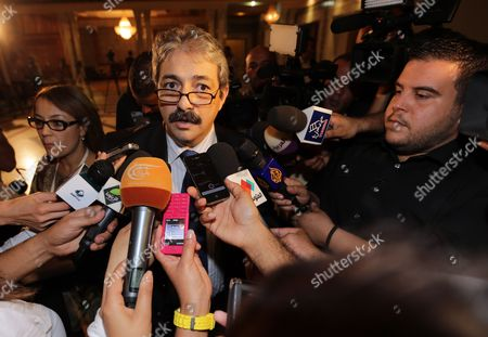 Member of the Political Bureau of the Democratic Forum For Labor and Liberties and Social Affairs Minister Khalil Zaouia Speaks to Media on the Sidelines of a National Dialogue Aimed at Ending the Ongoing Political Standoff in Tunis Tunisia 02 November 2013 Participants at the National Dialogue Are Continuing Their Discussions to Choose a New Premier to Replace Outgoing Ali Laarayedh the Ruling Ennahda Party Had Accepted a Plan Under Which Its Members Would Step Aside in Favor of a Transitional Government Composed of Politically Non-aligned Experts Tunisia Tunis