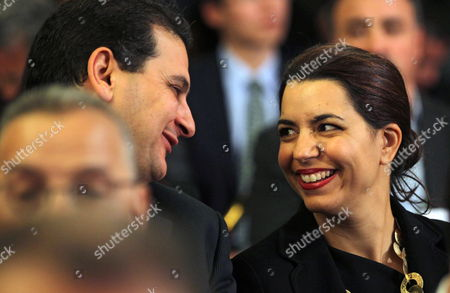 New Tunisian Minister of Tourism Amel Karboul (r) and New Minister of Culture Mourad Sakli (l) Attend the Ceremony of Transfer of Power Between Tunisia's New and Former Prime Minister in Tunis Tunisia on 29 January 2014 Tunisia Tunis