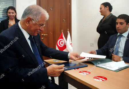 Head of Tunisian Moubadara Party Kamel Morjane (2-l) a Former Minister in the Government of Ousted Ruler Ben Ali Submits His Candidacy For the Upcoming Tunisian Presidential Elections in November Tunis Tunisa 20 September 2014 According to Media Reports Some 50 Tunisian Politicians Including Four Women Have Expressed Their Interest in Running in November's Presidential Elections Including Current President Moncef Marzouki Tunisia Tunis