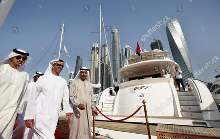 Lieutenant General Sheikh Saif Bin Zayed Al-nahyan (2 - L) Deputy Prime Minister and Minister of Interior and Vice Chairman of the Emirates Identity Authority Attends the Dubai International Boat Show (dibs) Dubai United Arab Emirates 04 March 2015 Dibs Runs From 03 to 07 March and Includes Sailing Watersports and Fishing United Arab Emirates Dubai