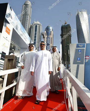 Lieutenant General Sheikh Saif Bin Zayed Al-nahyan (c) Deputy Prime Minister and Minister of Interior and Vice Chairman of the Emirates Identity Authority Attends the Dubai International Boat Show (dibs) Dubai United Arab Emirates 04 March 2015 Dibs Runs From 03 to 07 March and Includes Sailing Watersports and Fishing United Arab Emirates Dubai