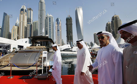 Lieutenant General Sheikh Saif Bin Zayed Al-nahyan (2 - R) Deputy Prime Minister and Minister of Interior and Vice Chairman of the Emirates Identity Authority Attends the Dubai International Boat Show (dibs) Dubai United Arab Emirates 04 March 2015 Dibs Runs From 03 to 07 March and Includes Sailing Watersports and Fishing United Arab Emirates Dubai