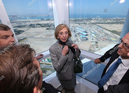 French Minister For Foreign Trade Nicole Bricq (c) Inspects From Top of a Building the Al Sufouh Tramway Which is Constructed by a Consortium of Alstom Besix and Parsons in Dubai United Arab Emirates 21 January 2014 Bricq is Visiting the Uae to Attend the World Future Energy Summit at Abu Dhabi Sustainability Week Al Sufouh Tramway is a 14 5 Kilometers Tramway That is Going to Run Along Al Sufouh Road From Dubai Marina to the Burj Al Arab and the Mall of the Emirates United Arab Emirates Dubai