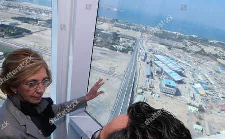 French Minister For Foreign Trade Nicole Bricq (l) Inspects From Top of a Building the Al Sufouh Tramway Which is Constructed by a Consortium of Alstom Besix and Parsons in Dubai United Arab Emirates 21 January 2014 Bricq is Visiting the Uae to Attend the World Future Energy Summit at Abu Dhabi Sustainability Week Al Sufouh Tramway is a 14 5 Kilometers Tramway That is Going to Run Along Al Sufouh Road From Dubai Marina to the Burj Al Arab and the Mall of the Emirates United Arab Emirates Dubai