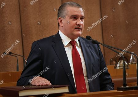 Sergei Aksyonov Takes Oath After He was Elected in a Unanimous Vote to the Post of Head of Annexed Crimea Ukraine 09 October 2014 Aksyonov Will Also Keep the Post of Crimean Prime Minister and Will Form a Crimean Government Ukraine Simferopol